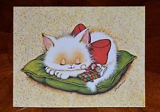 Vintage UNUSED Christmas Card WHITE CAT KITTEN on PILLOW w/ MOUSE by SUSANNA