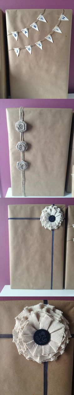 Subtle nautical theme for baby shower gift wrap! Did this for Laura's shower, and everyone loved it.