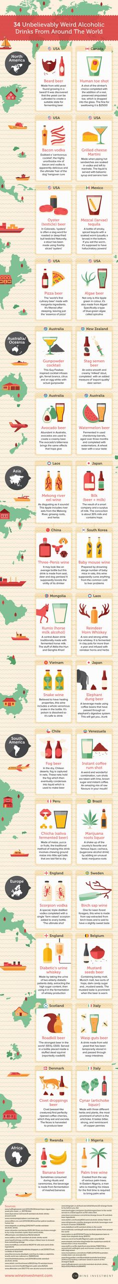 34 Unbelievably Weird Alcoholic Drinks From Around The World #Infographic #Food #Travel