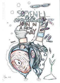 "Soften - Confide, acrylic, ink, press-on-letters on paper, 8.5""x11"", 2014, (c) Jessica Serran."