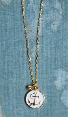 Gold & White Anchor Necklace Nautical Jewelry