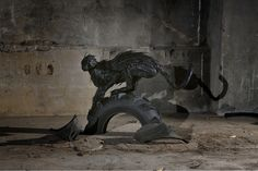 Statues made from tires by Korean artist  Yong Ho Ji