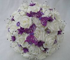 silver and purple wedding bouquets