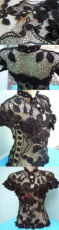 irish crochet lace top - love the large section at upper back which is almost just background net...