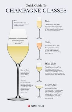 Guide to Champagne Glasses and Flutes. There are a few styles of sparkling glassware, and believe it or not, they do make a difference in the way the wine tastes. Board: Champagne and Wine Guide Vin, Wine Guide, Wine Cocktails, Alcoholic Drinks, Beverages, Cocktail Glassware, Wine Folly, Wine Education, Champagne Flutes