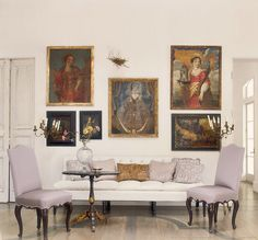 Acquired Objects: A quiet moment.Decorating with Religious Artwork - great use of religious art in gallery arrangement Cottage Chic, Room Decor, Wall Decor, Interior Decorating, Interior Design, Interior Ideas, Piece A Vivre, Interior Exterior, Religious Art