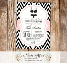 Black and Light Pink Chevron Lingerie Shower Bachelorette Party bridal party shower invitation - choose your chevron and accent color