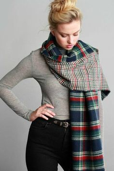 Reversible Blanket Scarf in Green Plaid & Houndstooth