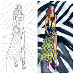 New York Fashion, Fashion Art, Adult Coloring, Coloring Books, Grunge Girl, Live Events, Present Day, Custom Art, Colorful Fashion