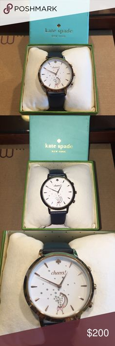 Kate Spade Women's Hybrid Activity Smartwatch Kate Spade Connected Women's Hybrid Rose Gold-Tone and Navy Smartwatch links automatically to the Kate Spade New York connected app to provide notifications, bursts of motivation, celebrations with every success and the tools to stay stylishly organized. Track steps, sleep and other habits, set personal goals, count down to life's merriest moments. Your watch alerts you with vibrations, controls music, automatically updates time zones, takes…