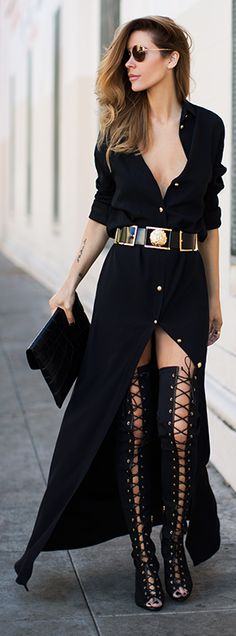Black Button Up Floor Length Maxi Dress by