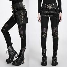 Women Black Spike Slim Fit Hard Punk Rock Fashion Pants Trousers SKU-11404146