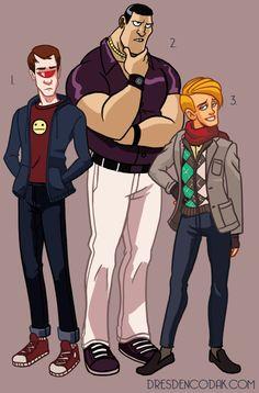 Dresden Codak's X-MEN REBOOT  1. Scott Summers (age 17)  2. Piotr Rasputen (age 18)  3. Warren Worthington III (age 16)