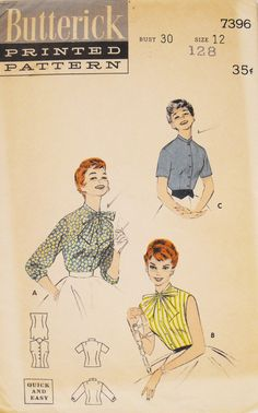 Vintage 1950s Butterick 7396 Sewing Pattern  by kimssewingbox, $9.00