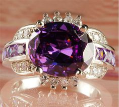 Purple Amethyst White Topaz Silver Ring. Starting at $1 on Tophatter.com!