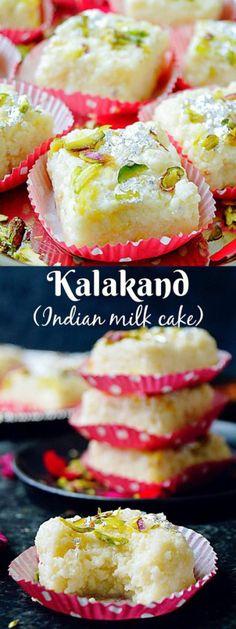 Kalakand Recipe How To Make Kalakand Indian Milk Cake - Aromatic Essence Indian Dessert Recipes, Indian Sweets, Indian Snacks, Sweets Recipes, Indian Recipes, Indian Milk Cake Recipe, Milk Cake Indian, Sago Recipes, Kalakand Recipe