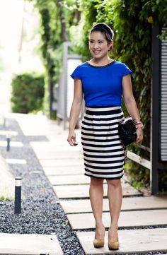 Black & White Striped Blazer. Cobalt Skirt. Mint & Blue. Modern ...