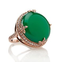 Treasures of India Green Onyx and Topaz Crown Ring