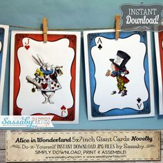Curiouser & Curiouser! Its a set of Do-it-Yourself PRINTABLE JPG 5x7 inch ALICE IN WONDERLAND Giant Playing Cards Birthday Party or Baby Shower Decorations.  See more in our Etsy shop: sassaby.etsy.com  ➤ Sassaby is Located in AUSTRALIA. Any Messages or Emails will be answered between 8am - 8pm AEST {UTC/GMT +10 hours} ------------------------------------------------------------------------------------------- ➤ PRODUCT INFORMATION…