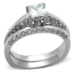 """Save additional 30% by using coupon code """"PINTEREST"""" when purchasing $30.00 or more of jewelry from www.hopechestjewelry.com. Hope Chest Jewelry - STAINLESS STEEL 0.75 CT PRINCESS CZ ENGAGEMENT RING AND WEDDING BAND SET, $31.49 (http://www.hopechestjewelry.com/stainless-steel-0-75-ct-princess-cz-engagement-ring-and-wedding-band-set/)"""