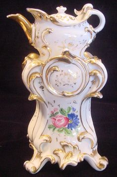 French Old Paris Demitasse Veilleuse Teapot on Warming Stand Ornate Blank Hand Painted Roses c 1820 - 1850