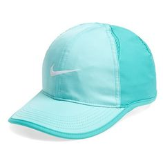 Nike 'Feather Light' Dri-FIT Cap ($24) ❤ liked on Polyvore featuring accessories, hats, dri fit cap, adjustable cap, nike cap, caps hats and feather cap