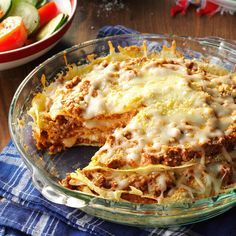 Pancake Lasagna Recipe -Take this dish along to your next potluck supper, and don't be surprised when there isn't a morsel left over—it's that good! It's also a unique way to serve lasagna. —Beverly Austin, Fulton, Missouri