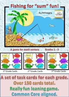 Great for math centers.  This game is aligned with Common Core State Standards 1.OA.6, 1.NBT.4, 2.OA.2, 2.NBT.5, 2.NBT.6 and 3.NBT.2.  The pack includes a set for 1st, 2nd and 3rd grades. The sets are tiered, so you can start with the easier cards, and add cards as the students progress.  The game can be played by using fishing poles (instructions to make them included), or just by pulling fish from a bag or container.  Over 150 task cards total!