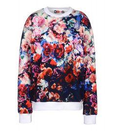 Edgy Florals on #ShopBAZAAR - MSGM Floral Print Cotton Sweatshirt