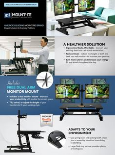 Amazon.com : Mount-It! Standing Desk Sit-Stand Desk Converter for Laptop, Desktop, Height Adjustable, Ergonomic, Gas Spring Arm, Free Standing, Easy Installation, Black (Sit-Stand + 2 Monitor Mount) : Office Products