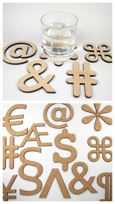 DIY Typography Coasters or Hot Plates. Made out of hand cut cork, and then laser cut plywood and MDF. The hand cut ones are very doable. Tutorial by Evil Mad Scientist Laboratories here.