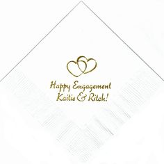 Engagement party-personalized napkins! Don't forget personalized napkins for the bridal shower and of the course the Wedding!! #engagement #wedding www.napkinspersonalized.com