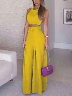 Shop Solid Crop Top & Self-belt Wide Leg Pant Sets right now, get great deals at Chiquedoll Trend Fashion, Fashion Mode, Look Fashion, Fashion Pants, Fashion Dresses, Womens Fashion, Fashion Clothes, Classy Outfits, Casual Outfits