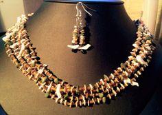 Kabibe Shell, pen Shell heishi, 5 strands with matching earrings #NavajoHandcrafted #FiveStrand