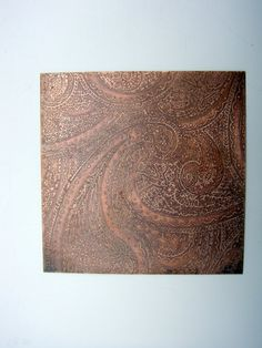 3X 3 etched copper sheet metal paisley design by metallography, $15.00