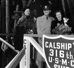 Madalynne Field, Clark Gable, and Irene Dunne at the launch for the SS Carole Lombard.