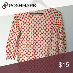 J. Crew sweater Light and thin sweater 3/4 length sleeves. Good condition and super cute fruit print!  Can also fit medium in my opinion. J. Crew Sweaters