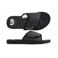 0e5666b3258 Cobian Black GTS Slides for Men with an Adjustable Strap. Cushioned Foot  Pain Relief in