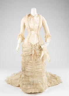 Cream Silk, Cotton, and Leather Wedding Gown, American, 1880