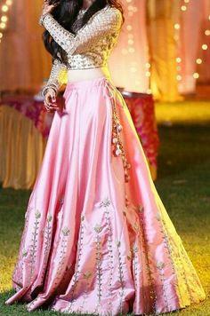 Latest Collection Indian Pink color Japan Satin Fabric Designer Wedding Wear Lehenga Choli with Embroidery Work. New arrival in women's Lehenga Choli. Lehenga Choli Designs, Indian Designer Outfits, Indian Outfits, Designer Dresses, Bollywood Lehenga, Pink Lehenga, Net Lehenga, Indian Wedding Lehenga, Bridal Lehenga