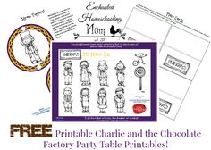 Free Printable Charlie and the Chocolate Factory Inspired Table Decorations - Enchanted Homeschooling Mom