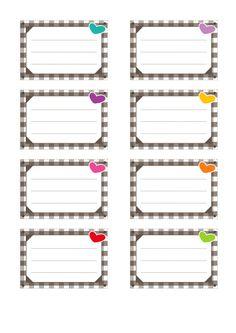 Etiquettes pour cahiers à imprimer : décoration vichy Imprimer cette planche d'étiquettes pour cahiers gratuitement en PDF (format A4)