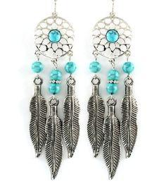 "2-1/2 "" Long Turquoise Silver Dream Catcher Earrings Nashville Western Jewelry"