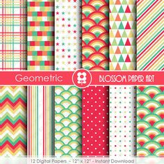 Rainbow Digital Paper Geometric Digital Papers, Scrapbooking Paper Pack, Red Orange Green Yellow Papers - INSTANT DOWNLOAD - 1836
