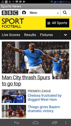 Sport news from BBC Sports, Bein sports, Fox sports, Goal live sports, Metro sports, NBC Sports, The Guardian Sports, Sky Sports, ESPN sports and much more..  All in one app.  http://Mobogenie.com