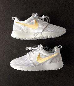 Nike Roshe Run One White with Custom Gold Swoosh Paint
