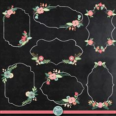 You will receive 25 beautifully rendered separate PNG files (transparent background) which were created at Each clipart element is saved separately about Chalkboard Designs, Chalkboard Art, Flora Frame, Vintage Clip Art, Graduation Diy, Decoupage Art, Frame Clipart, Chalkboard Wedding, Flower Clipart