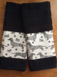 Dachshund kitchen towels dog towels Dachshund by Ladylovesfabric