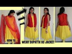 How To Wear Dupatta As Jacket   Easy DIY Using Safety Pins  PART 1 - YouTube Blouse Back Neck Designs, Blouse Designs, Kurti With Jacket, Medium Thin Hair, Shirt Refashion, Clothing Hacks, Sleeve Designs, Indian Dresses, Baby Dress