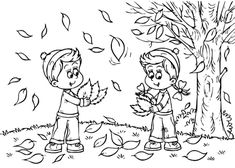 Fall Season Coloring page Squirrel Collecting Acorns Arts